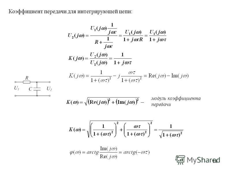 14 Коэффициент передачи для интегрирующей цепи: модуль коэффициента передачи