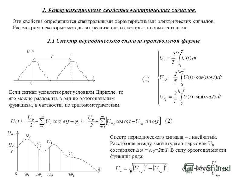 26 2.1 Спектр периодического сигнала произвольной формы Если сигнал удовлетворяет условиям Дирихле, то его можно разложить в ряд по ортогональным функциям, в частности, по тригонометрическим. 2. Коммуникационные свойства электрических сигналов. Эти с