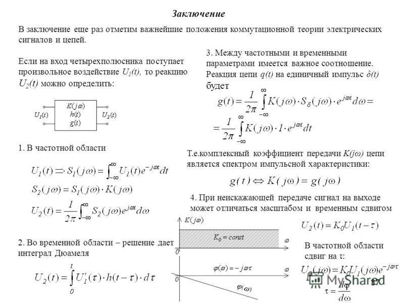 37 Заключение В заключение еще раз отметим важнейшие положения коммутационной теории электрических сигналов и цепей. Если на вход четырехполюсника поступает произвольное воздействие U 1 (t), то реакцию U 2 (t) можно определить: 1. В частотной области