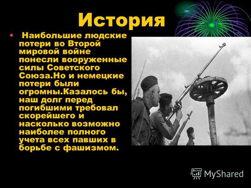 История Наибольшие людские потери во Второй мировой войне понесли вооруженные силы Советского Союза.Но и немецкие потери были огромны.Казалось бы, наш долг перед погибшими требовал скорейшего и насколько возможно наиболее полного учета всех павших в