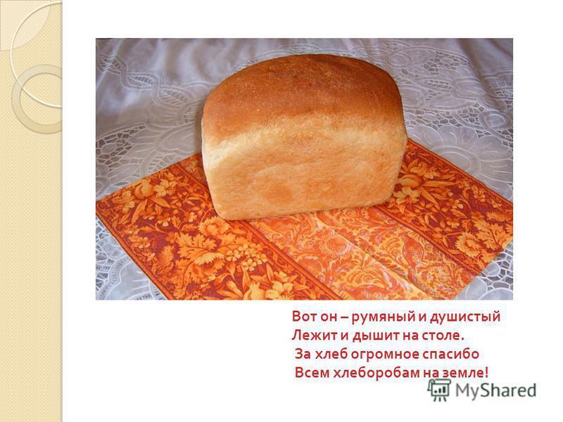 Вот он – румяный и душистый Лежит и дышит на столе. За хлеб огромное спасибо Всем хлеборобам на земле !