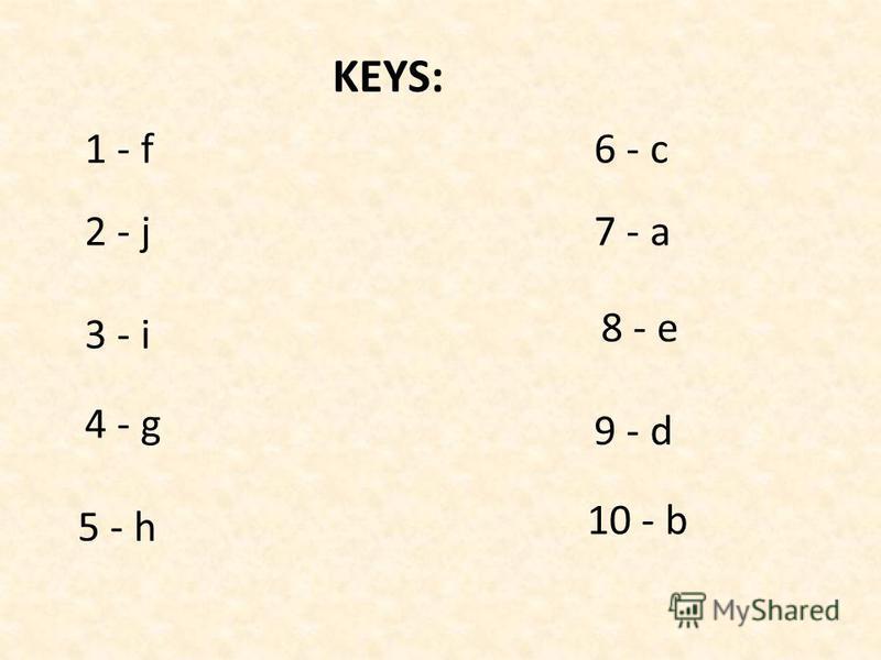 KEYS: 1 - f 2 - j 3 - i 4 - g 5 - h 6 - c 7 - a 8 - e 9 - d 10 - b