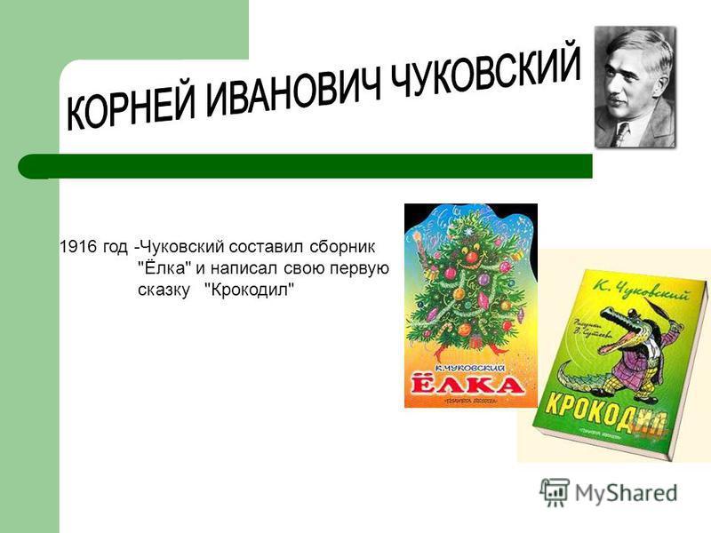 1916 год -Чуковский составил сборник Ёлка и написал свою первую сказку Крокодил