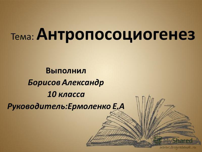 Тема: Антропосоциогенез Выполнил Борисов Александр 10 класса Руководитель:Ермоленко Е.А