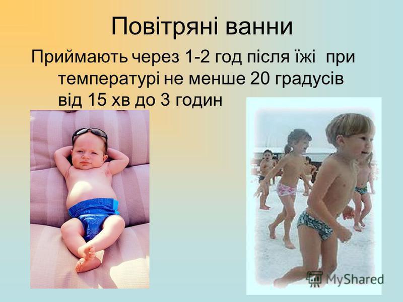 Повітряні ванни Приймають через 1-2 год після їжі при температурі не менше 20 градусів від 15 хв до 3 годин