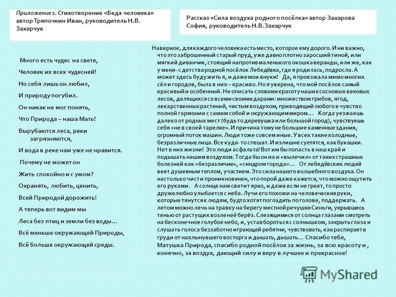 Приложение 1. Стихотворение « Беда человека » автор Тряпочкин Иван, руководитель Н. В. Захарчук Рассказ « Сила воздуха родного посёлка » автор Захарова София, руководитель Н. В. Захарчук Много есть чудес на свете, Человек их всех чудесней ! Но себя л