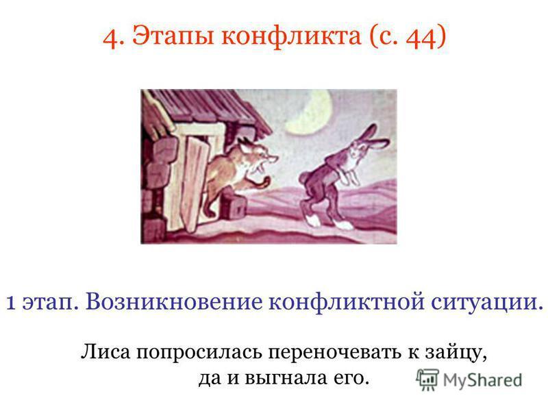 4. Этапы конфликта (с. 44) Лиса попросилась переночевать к зайцу, да и выгнала его. 1 этап. Возникновение конфликтной ситуации.