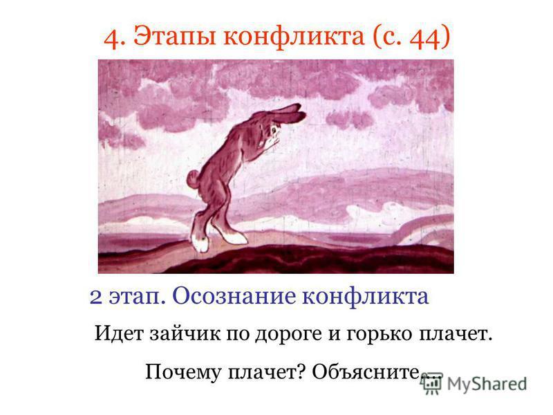 Идет зайчик по дороге и горько плачет. Почему плачет? Объясните…. 4. Этапы конфликта (с. 44) 2 этап. Осознание конфликта