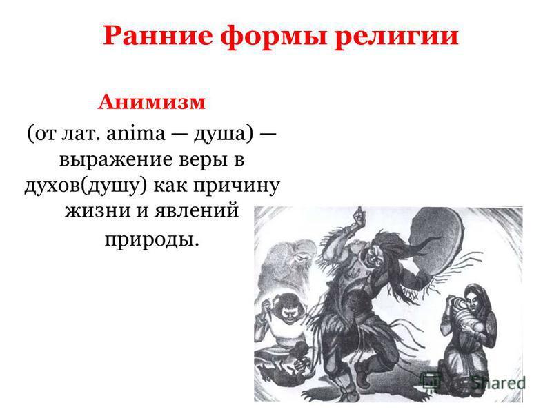 Ранние формы религии Анимизм (от лат. anima душа) выражение веры в духов(душу) как причину жизни и явлений природы.