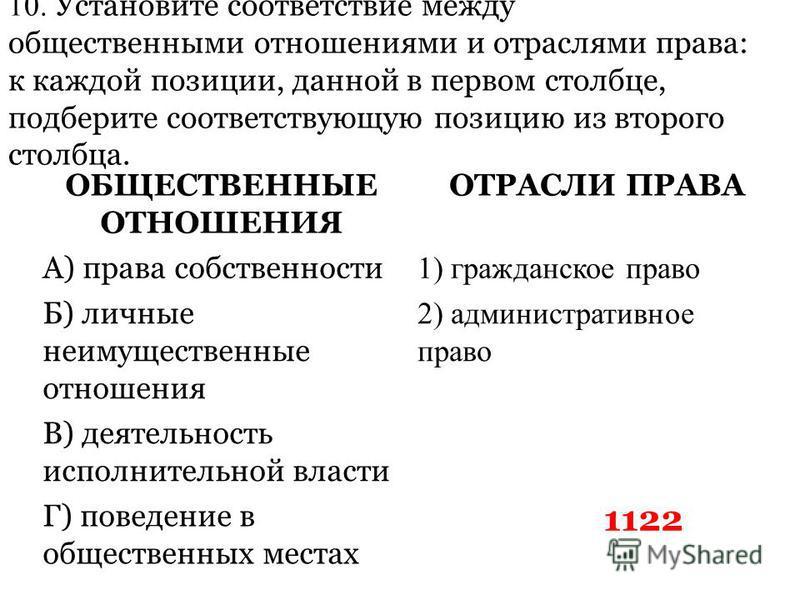 10. Установите соответствие между общественными отношениями и отраслями права: к каждой позиции, данной в первом столбце, подберите соответствующую позицию из второго столбца. ОБЩЕСТВЕННЫЕ ОТНОШЕНИЯ ОТРАСЛИ ПРАВА А) права собственности 1) гражданское