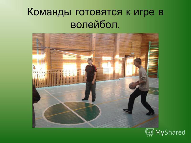 Команды готовятся к игре в волейбол.