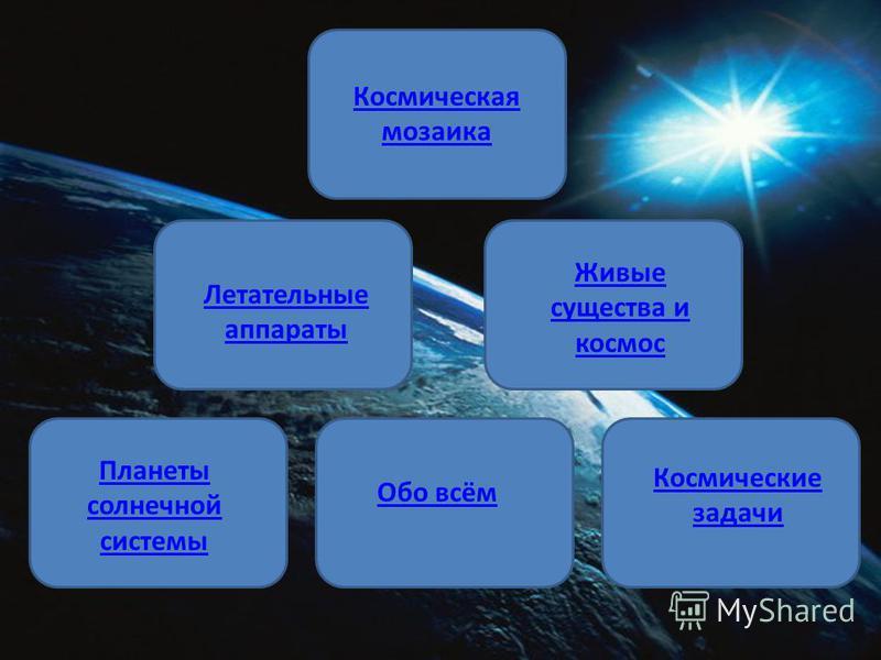 Космическая мозаика Летательные аппараты Живые существа и космос Планеты солнечной системы Обо всём Космические задачи