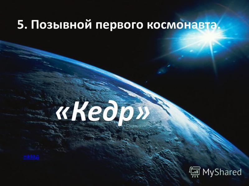 5. Позывной первого космонавта. «Кедр» назад