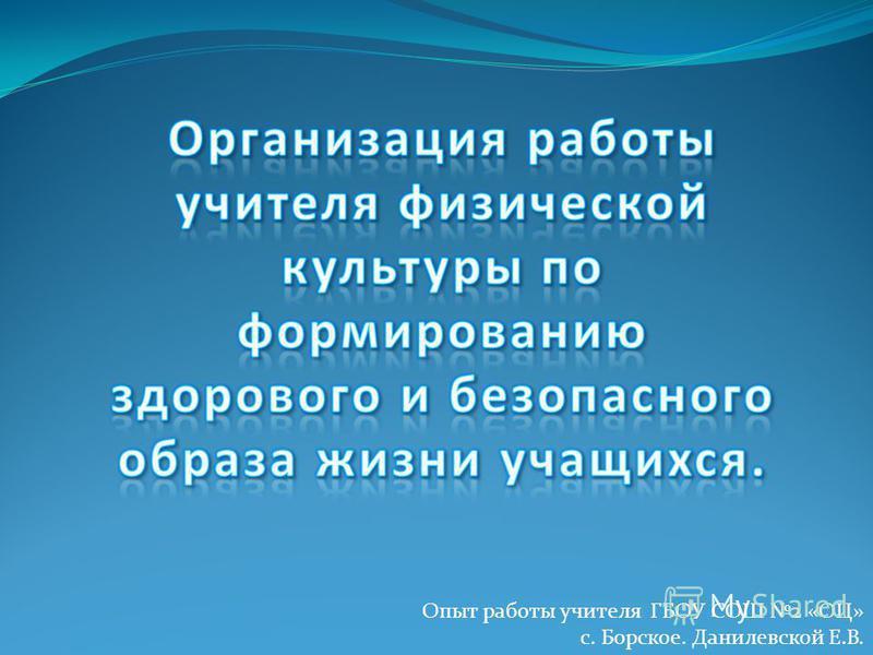 Опыт работы учителя ГБОУ СОШ 2 «ОЦ» с. Борское. Данилевской Е.В.