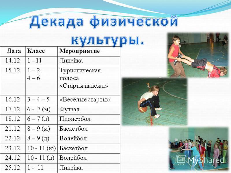 Дата КлассМероприятие 14.121 - 11Линейка 15.121 – 2 4 – 6 Туристическая полоса «Старты надежд» 16.123 – 4 – 5«Весёлые старты» 17.126 - 7 (м)Футзал 18.126 – 7 (д)Пионербол 21.128 – 9 (м)Баскетбол 22.128 – 9 (д)Волейбол 23.1210 - 11 (ю)Баскетбол 24.121