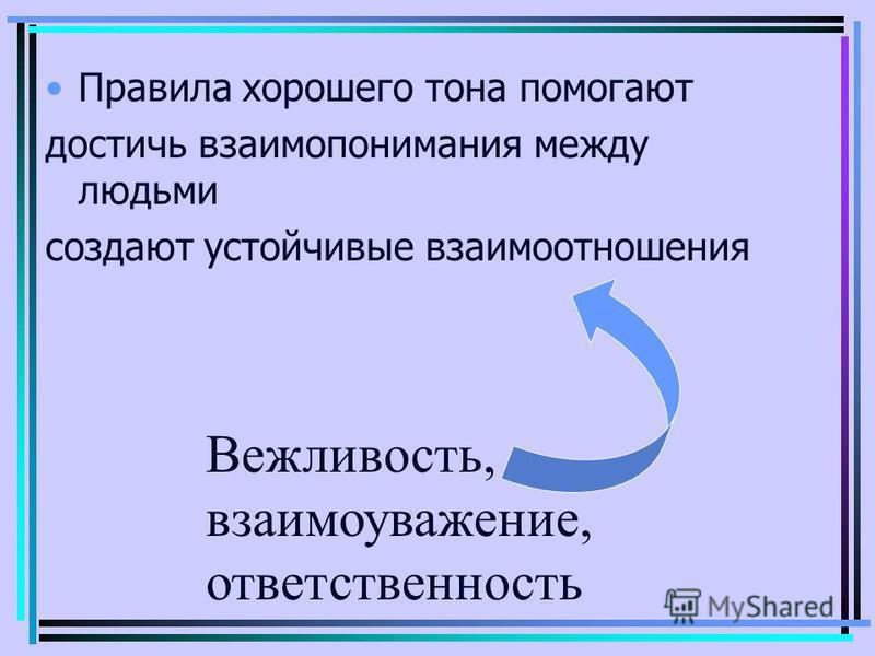 Правила хорошего тона помогают достичь взаимопонимания между людьми создают устойчивые взаимоотношения Вежливость, взаимоуважение, ответственность