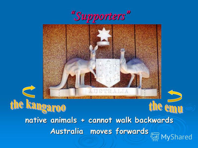Supporters native animals + cannot walk backwards Australia moves forwards