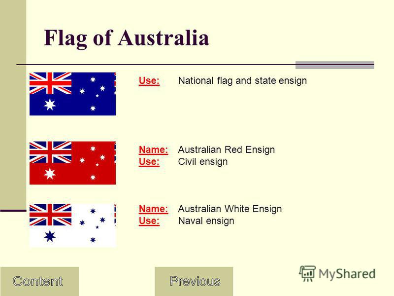 Flag of Australia Use:National flag and state ensign Name:Australian Red Ensign Use:Civil ensign Name:Australian White Ensign Use:Naval ensign