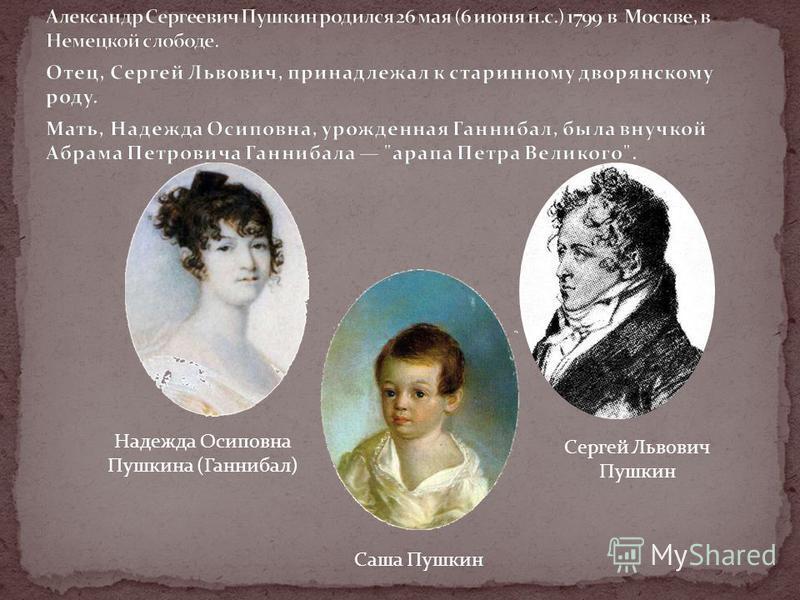 Надежда Осиповна Пушкина (Ганнибал) Сергей Львович Пушкин Саша Пушкин