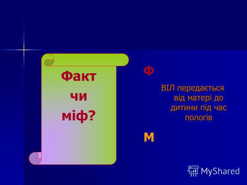 Факт чи міф? Ф ВІЛ передається від матері до дитини під час пологів ВІЛ передається від матері до дитини під час пологів М