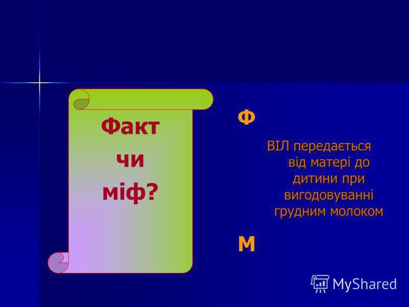 Факт чи міф? Ф ВІЛ передається від матері до дитини при вигодовуванні грудним молоком ВІЛ передається від матері до дитини при вигодовуванні грудним молоком М