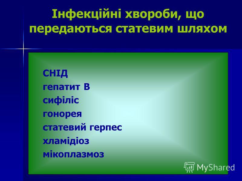 Інфекційні хвороби, що передаються статевим шляхом СНІД гепатит В сифіліс гонорея статевий герпес хламідіоз мікоплазмоз