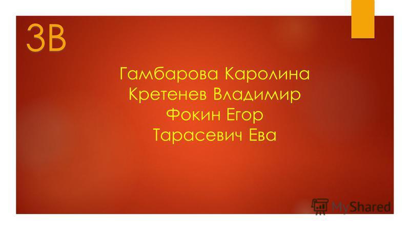 Гамбарова Каролина Кретенев Владимир Фокин Егор Тарасевич Ева 3В