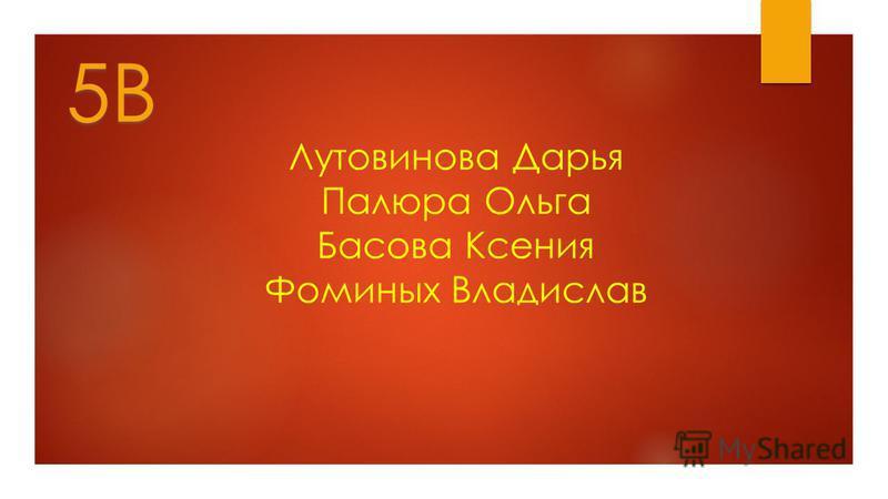 Лутовинова Дарья Палюра Ольга Басова Ксения Фоминых Владислав 5В