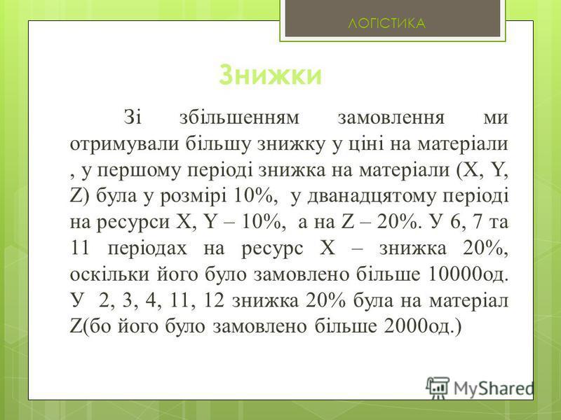 Знижки Зі збільшенням замовлення ми отримували більшу знижку у ціні на матеріали, у першому періоді знижка на матеріали (X, Y, Z) була у розмірі 10%, у дванадцятому періоді на ресурси X, Y – 10%, а на Z – 20%. У 6, 7 та 11 періодах на ресурс X – зниж