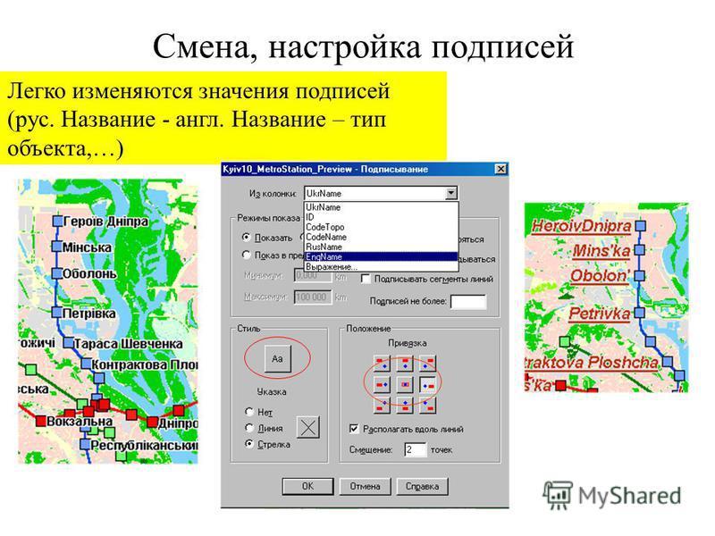 Смена, настройка подписей Легко изменяются значения подписей (рус. Название - англ. Название – тип объекта,…)