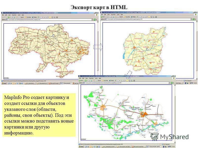 Экспорт карт в HTML MapInfo Pro создает картинку и создает ссылки для объектов указанного слоя (области, районы, свои объекты). Под эти ссылки можно подставить новые картинки или другую информацию.