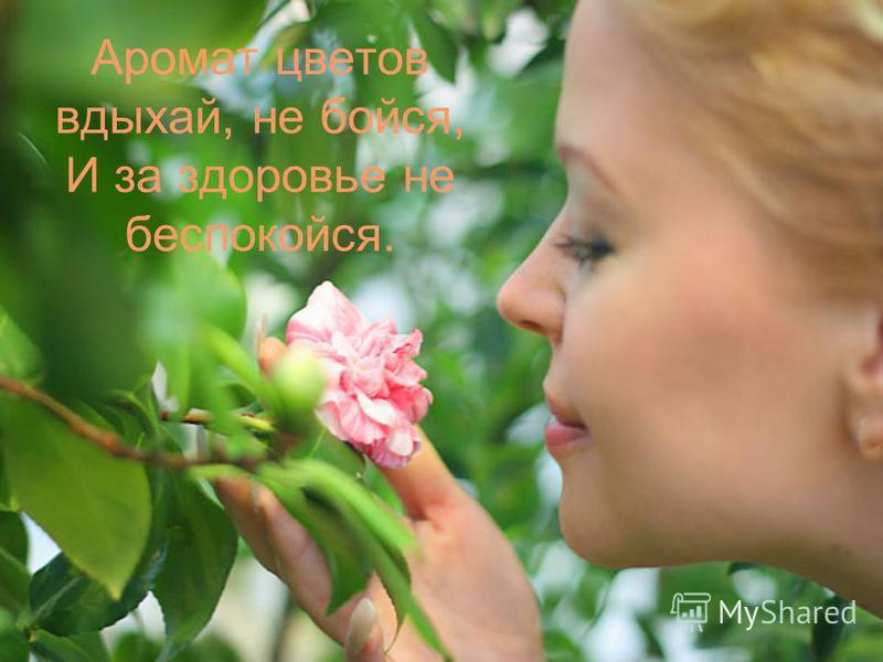 Аромат цветов вдыхай, не бойся, И за здоровье не беспокойся.