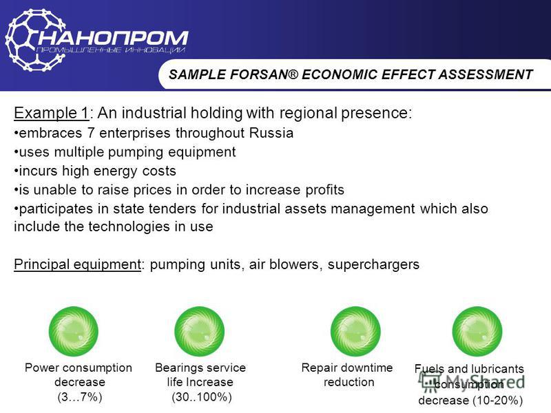НАНОПРОМ Промышленные инновации SAMPLE FORSAN® ECONOMIC EFFECT ASSESSMENT Example 1: An industrial holding with regional presence: embraces 7 enterprises throughout Russia uses multiple pumping equipment incurs high energy costs is unable to raise pr