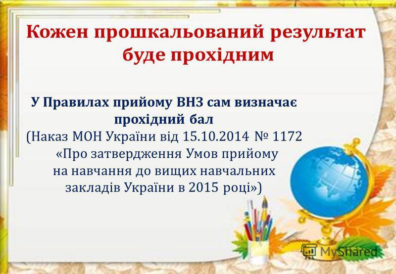 У Правилах прийому ВНЗ сам визначає прохідний бал (Наказ МОН України від 15.10.2014 1172 «Про затвердження Умов прийому на навчання до вищих навчальних закладів України в 2015 році»)