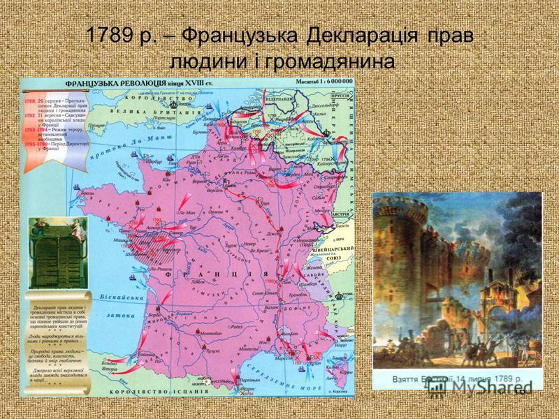 16 1789 р. – Французька Декларація прав людини і громадянина