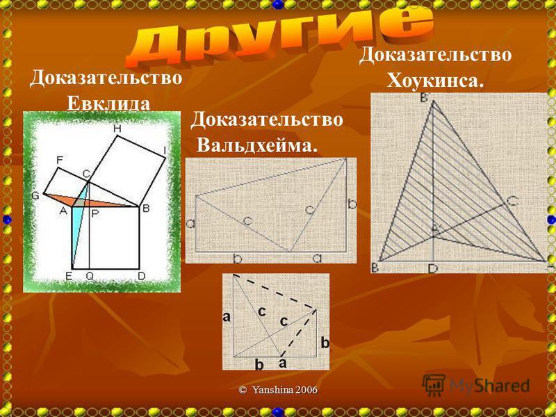 © Yanshina 2006 Площадь большого квадрата равна сумме площадей маленького квадрата и площадей четырех треугольников (a+b) 2 =c 2 +4*1/2ab Отсюда a 2 +2ab+b 2 = c 2 +2ab a 2 +b 2 = c 2