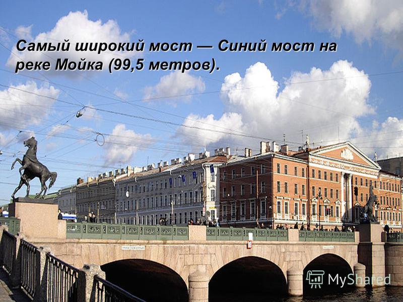 Самый широкий мост Синий мост на реке Мойка (99,5 метров).