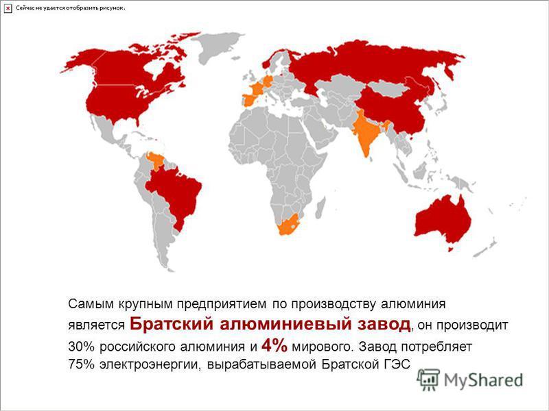Самым крупным предприятием по производству алюминия является Братский алюминиевый завод, он производит 30% российского алюминия и 4% мирового. Завод потребляет 75% электроэнергии, вырабатываемой Братской ГЭС