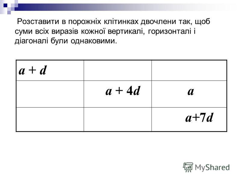 Розставити в порожніх клітинках двочлени так, щоб суми всіх виразів кожної вертикалі, горизонталі і діагоналі були однаковими. a + d a + 4d a a+7d