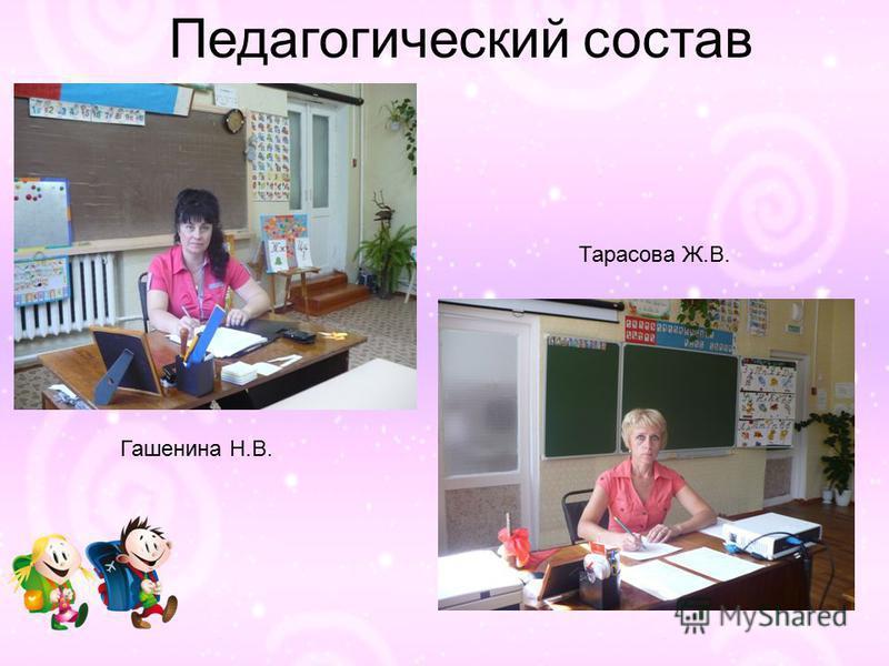 Педагогический состав Гашенина Н.В. Тарасова Ж.В.