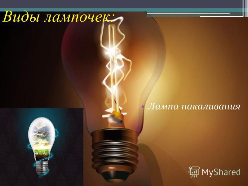 Лампа накаливания Виды лампочек: