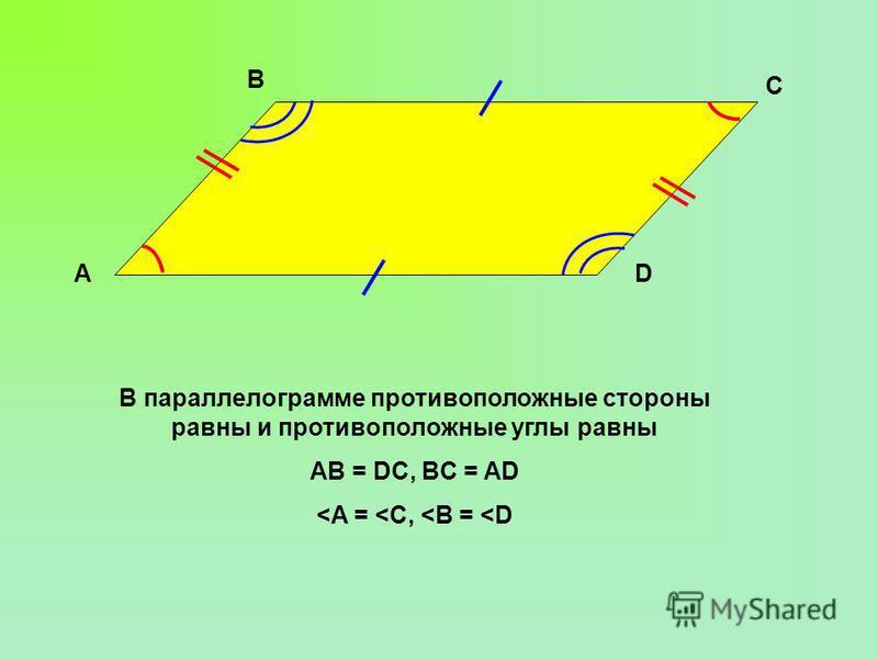 В параллелограмме противоположные стороны равны и противоположные углы равны AB = DC, BC = AD <A = <C, <B = <D B AD C