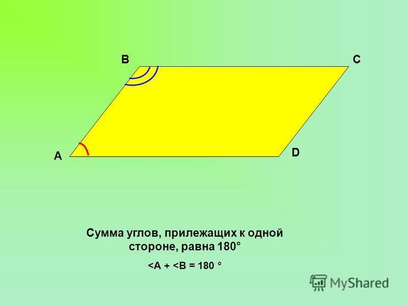 А D СВ Сумма углов, прилежащих к одной стороне, равна 180 ° <А + <В = 180 °
