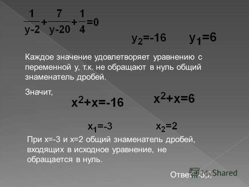 Каждое значение удовлетворяет уравнению с переменной y, т.к. не обращают в нуль общий знаменатель дробей. Значит, При x=-3 и x=2 общий знаменатель дробей, входящих в исходное уравнение, не обращается в нуль. Ответ: -3;2
