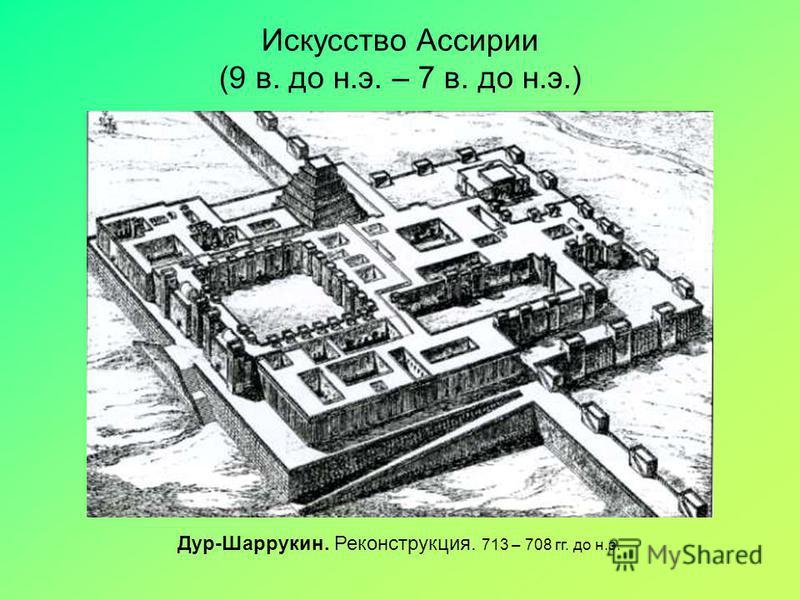 Искусство Ассирии (9 в. до н.э. – 7 в. до н.э.) Дур-Шаррукин. Реконструкция. 713 – 708 гг. до н.э.
