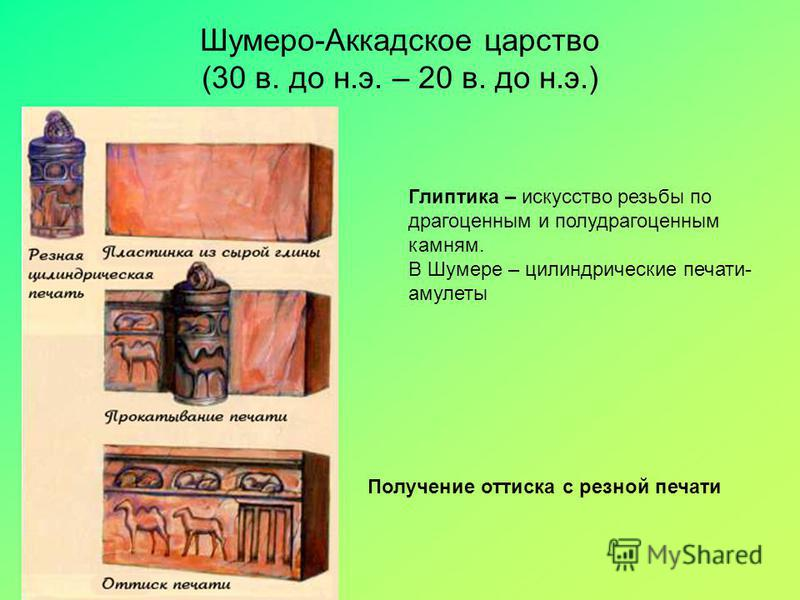 Шумеро-Аккадское царство (30 в. до н.э. – 20 в. до н.э.) Получение оттиска с резной печати Глиптика – искусство резьбы по драгоценным и полудрагоценным камням. В Шумере – цилиндрические печати- амулеты
