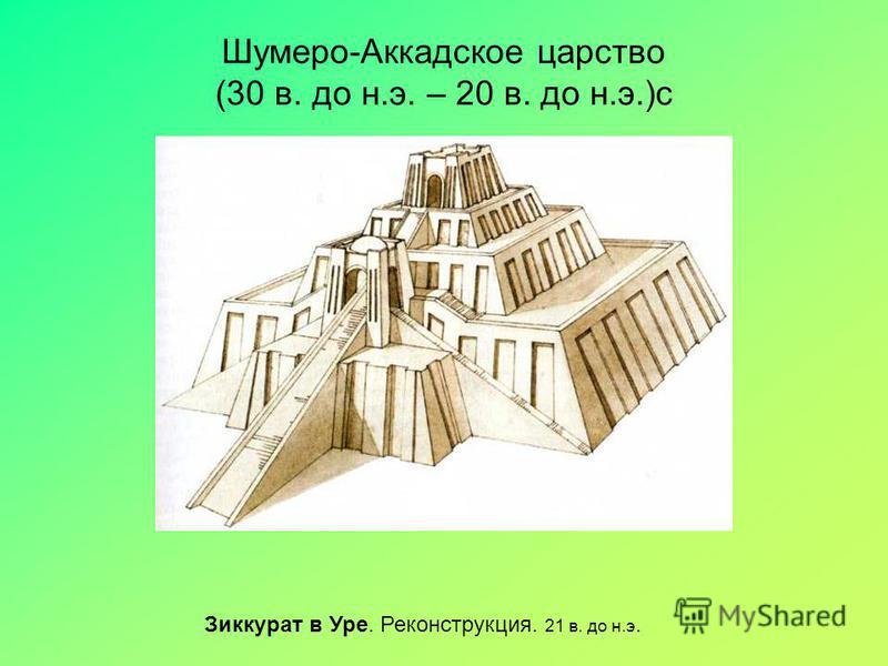 Шумеро-Аккадское царство (30 в. до н.э. – 20 в. до н.э.)с Зиккурат в Уре. Реконструкция. 21 в. до н.э.