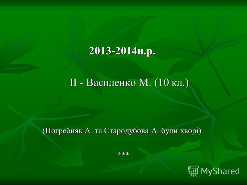 2012-2013н.р. ІІ - Остапенко В. (11кл) ІІІ - Василенко М. (9кл.)