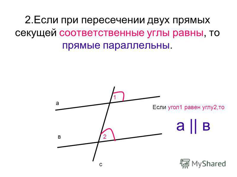 2. Если при пересечении двух прямых секущей соответственные углы равны, то прямые параллельны. а в с 1 2 а || в Если угол 1 равен углу 2,то