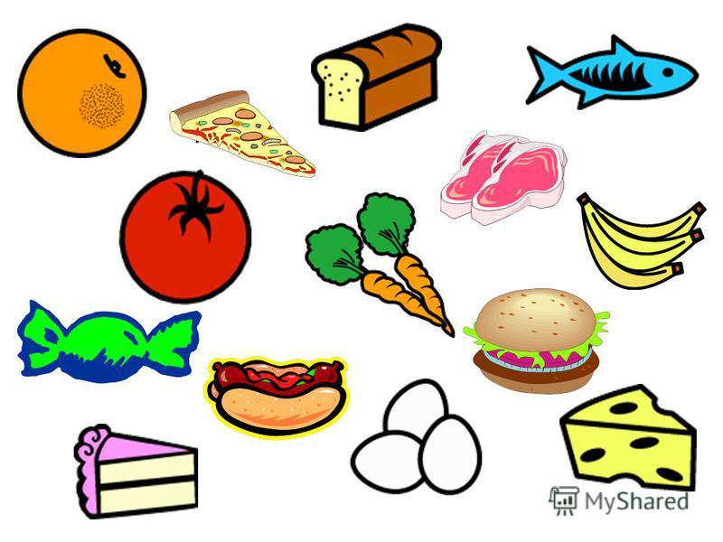 hamburger hot dog candy meat pizza cheese eggs cake bananacarrots tomato fish bread orange